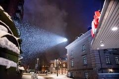 Zoeklicht verlichtende hemel in Tampere Finland Royalty-vrije Stock Foto