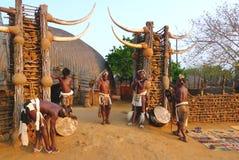Zoeloes worriers in Shakaland Zoeloes Dorp, Zuid-Afrika stock afbeelding