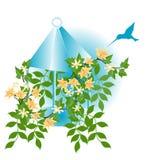 Zoemende Vogel en Bloemen vector illustratie