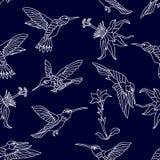 Zoemende vogels en bloemen stock illustratie