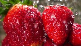 zoet aardbeien en water, langzame motie stock video