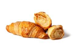 Zoet aardig gebakken croissant stock foto