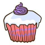 Zoet cupcakepictogram, hand getrokken stijl royalty-vrije illustratie