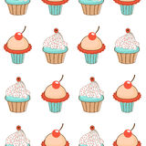 Zoet cupcakespatroon Stock Foto