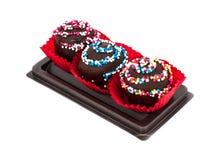 Zoet Dessert: Chocoladecake Isoleted op Witte Achtergrond Royalty-vrije Stock Foto