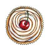 Zoet dessert, kers cupcake, hand getrokken waterverf vector illustratie