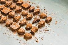 Zoet dessert met donkere chocolade Royalty-vrije Stock Foto