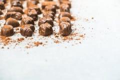 Zoet dessert met donkere chocolade Royalty-vrije Stock Foto's