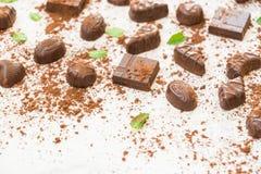 Zoet dessert met donkere chocolade Royalty-vrije Stock Fotografie