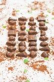 Zoet dessert met donkere chocolade Stock Fotografie