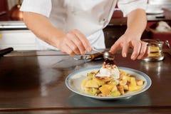 Zoet dessert in restaurant royalty-vrije stock afbeelding