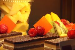 ZOET DESSERTvruchten en chocoladegebakje met framboos op bovenkant, de V.A.E OP 22 FEBRUARI 2017 stock afbeeldingen