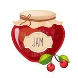 Zoet die Cherry Red Jam Glass Jar met Berry With Template Label Illustration wordt gevuld Stock Foto's