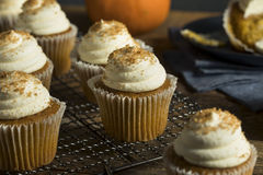Zoet Eigengemaakt Pompoenkruid Cupcakes Royalty-vrije Stock Foto