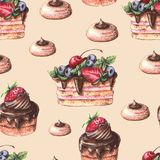 Zoet heerlijk waterverfpatroon met cupcakes Hand-drawn stock foto