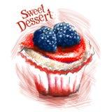 Zoet het ontwerpmalplaatje van het dessert vectorembleem Cake Royalty-vrije Stock Foto