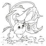 Zoet kuikenkarakter De worm van het beeldverhaalkarakter Vector illustratie Hand die op witte achtergrond trekt Kuiken en worm Stock Afbeelding