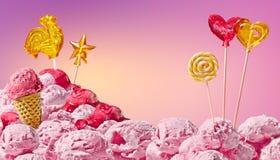 Zoet magisch landschap van roomijs en suikergoed Stock Foto