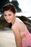 Zoet meisje bij strand 3 Stock Afbeelding