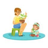 Zoet meisje die over installaties met leraar, les leren van plantkunde in de vectorillustratie van het kleuterschoolbeeldverhaal vector illustratie