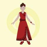 Zoet meisje in een rode kleding Royalty-vrije Stock Afbeeldingen