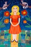 Zoet meisje Geschilderd waterverfmeisje met bloemen en verbindingen vector illustratie