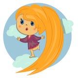Zoet meisje in jong geitje sky.beautiful Royalty-vrije Stock Foto's