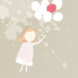 zoet meisje met ballons Stock Foto's