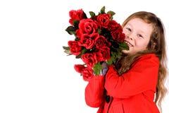 Zoet meisje met rozen Stock Foto