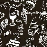Zoet naadloos patroon met dranken en snoepjes vector illustratie