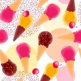 Zoet naadloos patroon met van de multiciolorfruit en chocolade roomijskegels en kersen Stock Foto's
