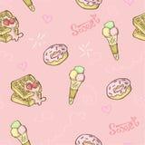 Zoet naadloos voedselpatroon royalty-vrije illustratie