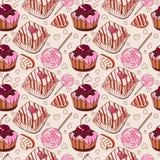Zoet patroon met cakes Stock Afbeeldingen