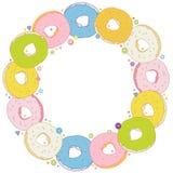 Zoet Rond Kader met kleurrijke donuts Royalty-vrije Stock Afbeelding