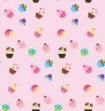 Zoet roze cupcake naadloos patroon Stock Foto