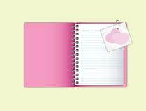Zoet roze notitieboekje Stock Foto