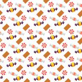 Zoet scandy en koekjes naadloos patroon Stock Foto