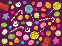 Zoet Suikergoed, Schuimgebakje, koekjes en Chocolade Vectorillustratie Royalty-vrije Stock Fotografie
