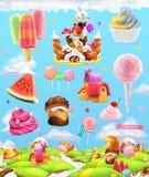 Zoet suikergoedland, de achtergrond van het beeldverhaalspel Beeldverhaal polair met harten vector illustratie