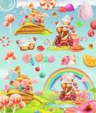 Zoet suikergoedland De Achtergrond van het beeldverhaalspel Drie kleurenpictogrammen op kartonmarkeringen stock illustratie