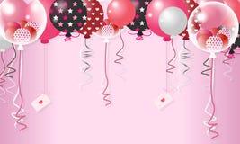 Zoet Valentine Balloon In Pink Background - Vector royalty-vrije illustratie