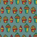 Zoet vector naadloos patroon met cupcakes Leuke eindeloze achtergrond in zachte kleuren Cake, geïsoleerd roomijs vector illustratie