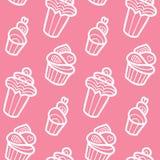 Zoet vector naadloos patroon met cupcakes Leuke eindeloze achtergrond in zachte kleuren Cake, geïsoleerd roomijs stock illustratie