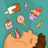 Zoet verslavingsconcept Ongezonde voedingsconceptie Zwaarlijvige mens en verschillende desserts in beeldverhaalstijl Vector illus Stock Afbeelding