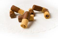 Zoet wafeltje met chocolade royalty-vrije stock afbeelding