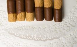 Zoet wafeltje met chocolade stock afbeelding