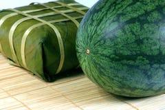 Zoet watermeloen en rijstcake Stock Afbeelding
