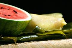Zoet watermeloen en rijstcake Stock Foto