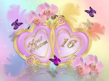 Zoete 16 uitnodigingskaart Stock Foto's