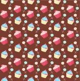 Zoete achtergrond met cakes stock illustratie